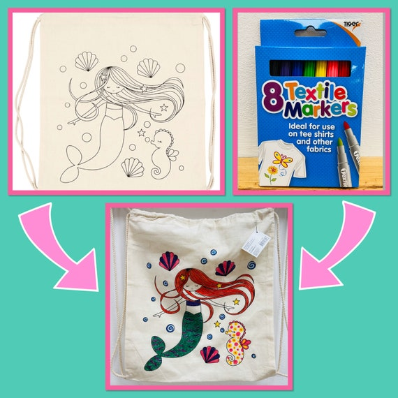 Mermaid Drawstring Rucksack/Bag with Pens