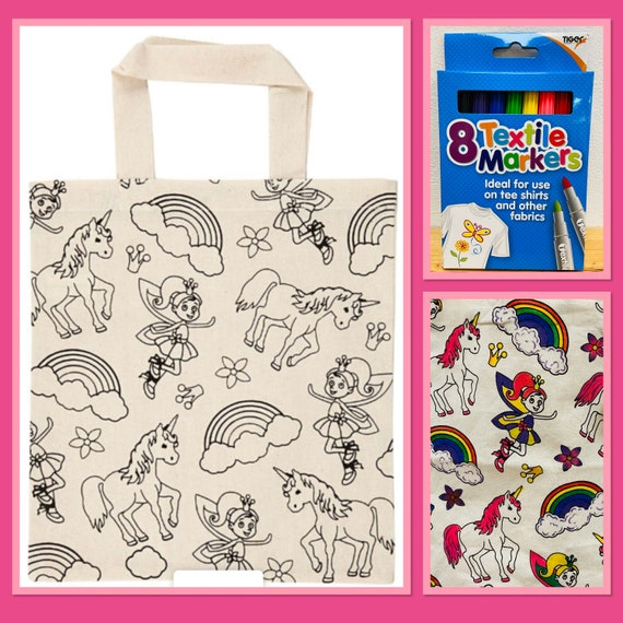 Unicorn, Rainbow, Fairy Shopping Bag with Pens