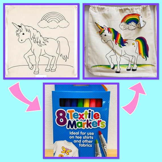 Unicorn Drawstring Rucksack/Bag with Pens