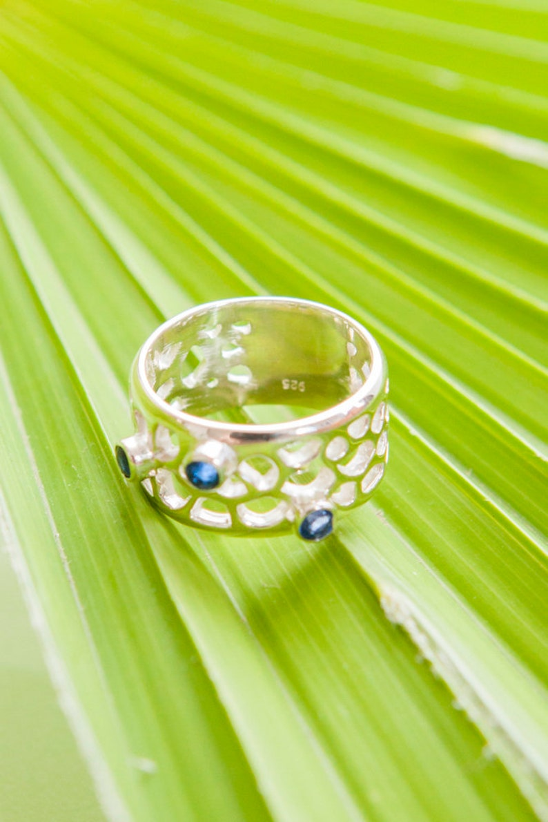 Blue Gemstone Silver Ring Band