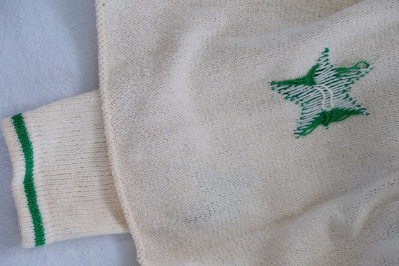 Adolfo white knit dress with green stars - image 6