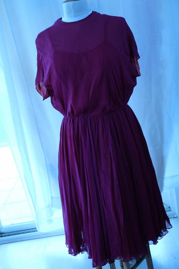 William Pearson Vintage burgundy chiffon dress wit