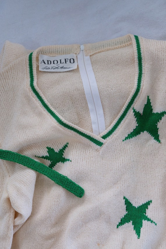 Adolfo white knit dress with green stars - image 5