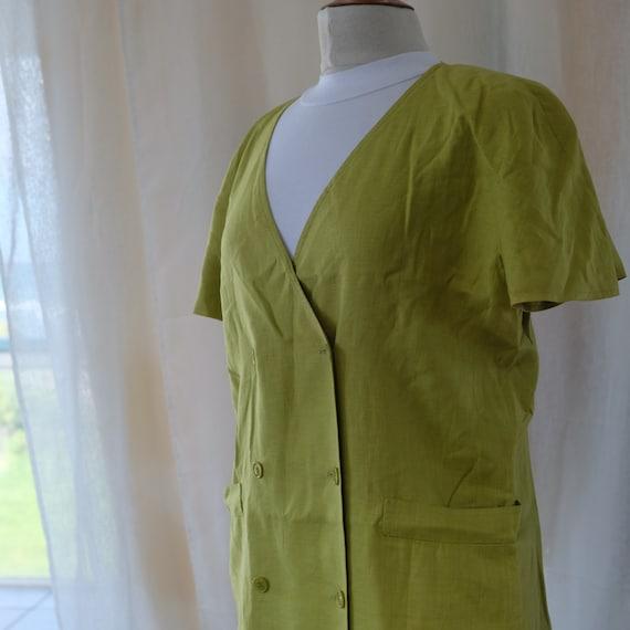 Gucci chartreuse linen dress