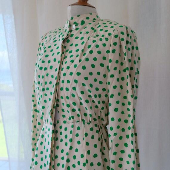 Galanos for I.Magnin silk polkadot dress