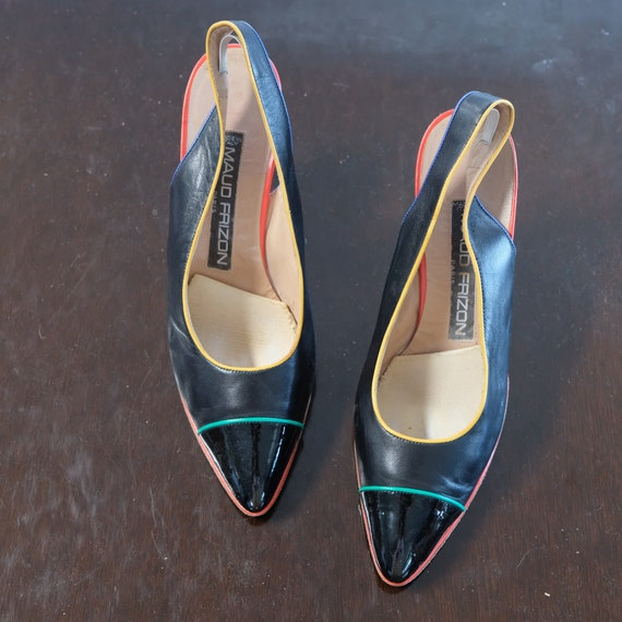 Maud Frizon Black with multicolor Piping Size 39.5