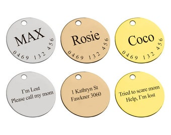 Custom Dog Tags, Dog ID tag, small dog id tag, pet id tag, dog id tag engraved, personalized dog tag, Stainless Steel, Cat Tag, Pet Tag