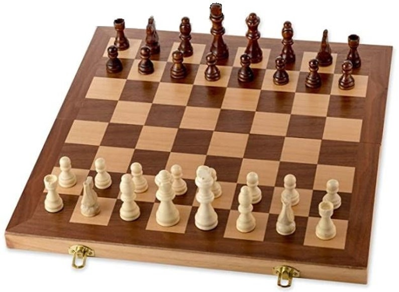 Chess Set Wooden Chess Board handmade Interior for Storage  image 0
