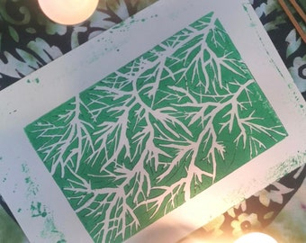 Wandering Branches A5 Lino Print Handmade Nature Magic