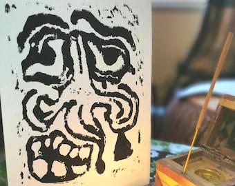 Face of the wayfarer A5 Lino Cut Print Folklore Medieval Magic
