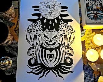 A4 Print The Blood Moon Samhain Autumn Magic