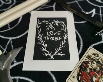 Love Thyself Lino Print Nature Love Magic