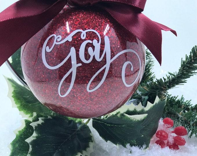 Featured listing image: Joy Glitter Christmas Ornament