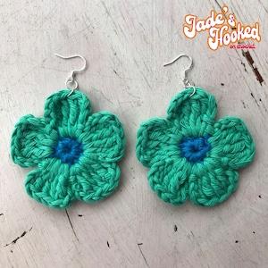 Crochet Small Festival Matching Flower Gift for Her Slow Fashion Daisy Drop Crochet Earrings Hippy Silver Plated Hooks, Boho
