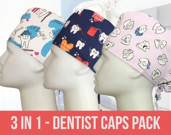 Dental Assistant Hat 5 pcs Dentist Scrub Caps Dental Surgical Cap Dental Cap Women Dental Scrub Hat with Buttons Dental Hygienist Gift