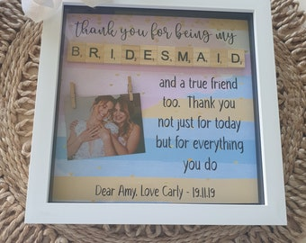 Personalised Wooden Bridesmaid Photo Frame Thank You Gift 6x4 5x7 8x6 10x8