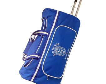 Zeta Phi Beta (ZOB) Sorority Blue & White color Trolley/ Duffle/ Luggage Bag for travelling, for Women, Made in India