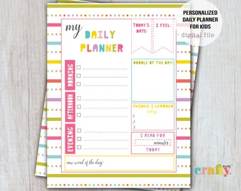 Kids Daily Planner, Kids Daily Calendar, Daily Routine, Day At A Glance, Digital Download