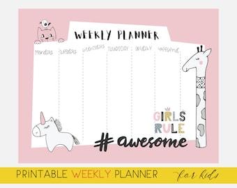 Kids Weekly Planner, Kids Weekly Calendar, Weekly Routine, Week At A Glance, Digital Download