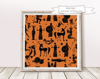 Zodiac Signs Inspired by Greek Mythology,Home Wall Art, Digital wall art, Home decor, Ancient Greece, Astrology, Ancient Greek Pottery Style