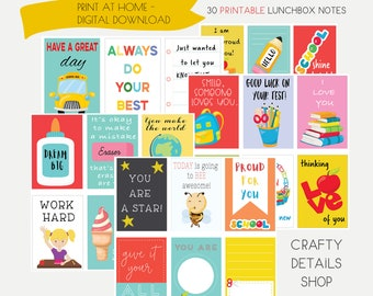 School Lunchbox Notes, Lunch Box Notes For Kids, Printable Lunch Box Notes, Inspirational Notes For Kids