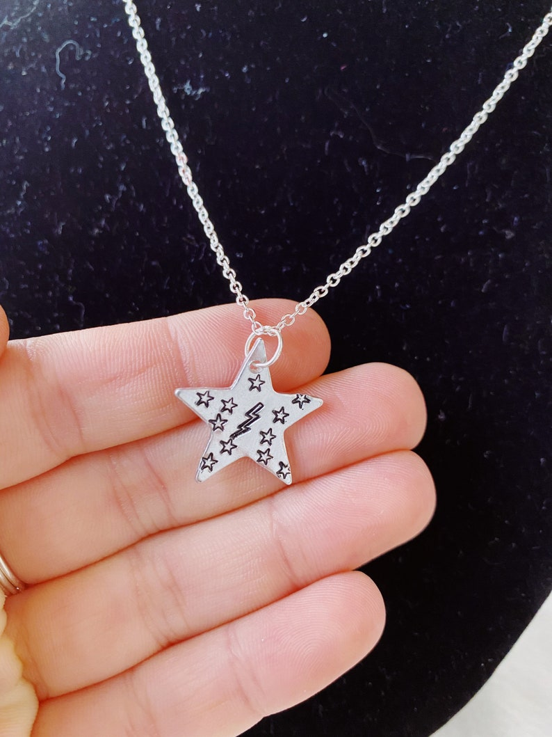 Star Necklace Metal Stamp Necklace Stormy Night Necklace