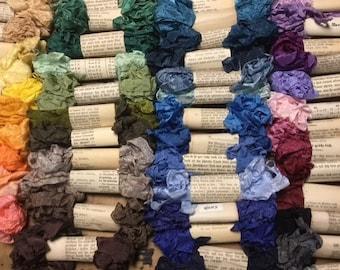 Crinkle Ribbon Binding - 5 yards ea. Bundle Blues, Purples, Pinks, Reds, Greens and Oranges.