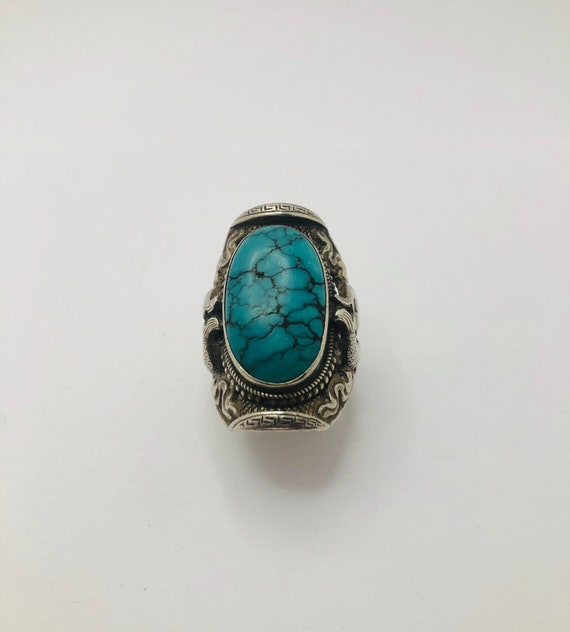 Vintage Sterling Silver Spiderweb Turquoise Ring