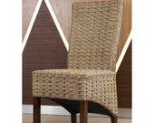 Hand Woven Dining Chair Abaca Rattan Seagrass Style Long-lasting Mahogany Hardwood Frame for Dining room Living room Home Decorations