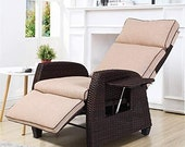 Stylish Indoor Outdoor Recliner Chair Adjustable Integrated Side Table with All-Weather Wicker Vintage Model for Living room Decorations