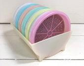 Vintage Tupperware Pastel Wagon Wheel Coasters Caddy 567 Set of 6 foam inserts