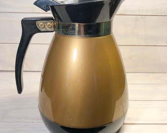 Vintage Thermo Serv Pitcher, gold and black coffee carafe Double Wall Insulated Serving Ware, hot or cold drinks, 1970s hostess