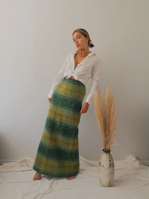 60's Plaid Scottish Mohair Maxi Skirt - image 1