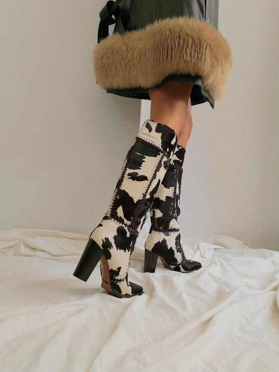 Dolce & Gabbana Patchwork Cow Boots
