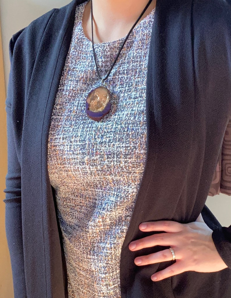 ChampagnePurple Druzy Pendant Necklace Gift Jewelry Mother/'s day gifts