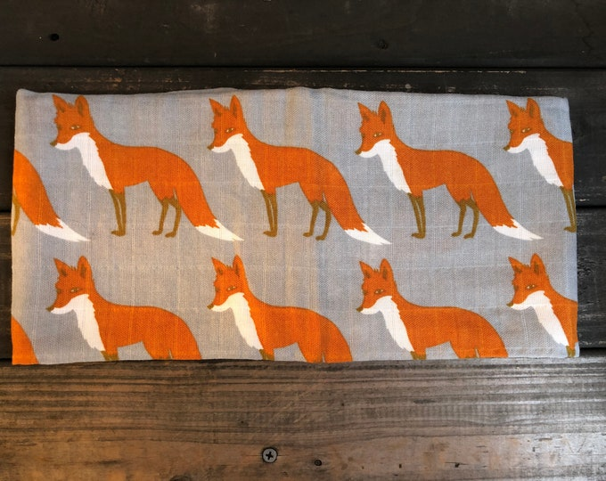 Foxes Muslin Burp Cloth | Swaddle | Blanket | Bib | Scarf