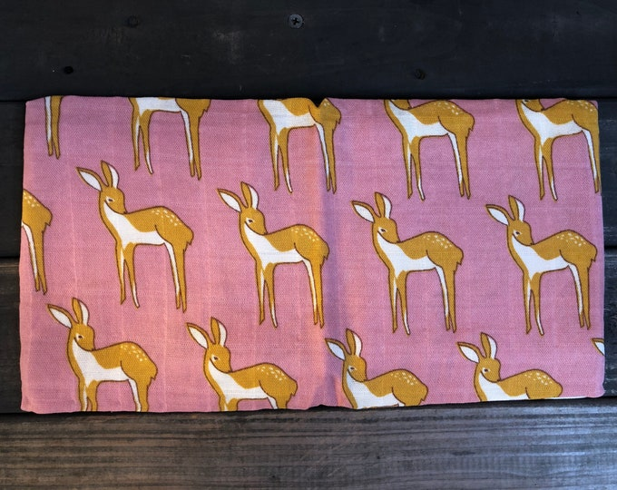Pink Deer Muslin Burp Cloth | Swaddle | Blanket | Bib | Scarf