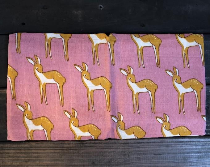 Pink Deer Muslin Burp Cloth | Swaddle | Blanket | Bib | Scarf