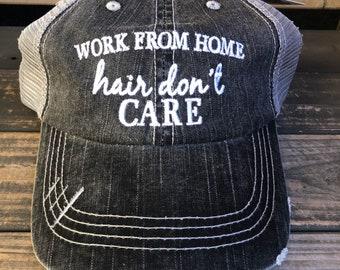Work From Home Hair Don't Care Trucker Hat | Baseball Cap
