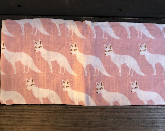 Pink Fox Muslin Burp Cloth | Swaddle | Blanket | Bib | Scarf