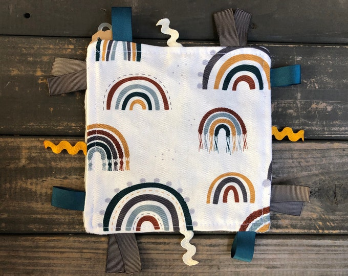Rainbows Crinkle Square | Sensory | Teething | Lovey | Taggies | Baby Toy