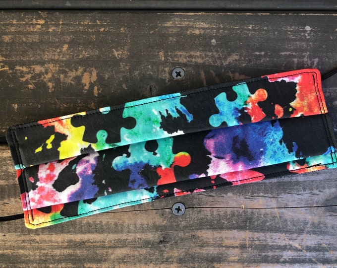 Autism Awareness Face Mask | Face Cover | Black Mask | Colorful Puzzle Pieces
