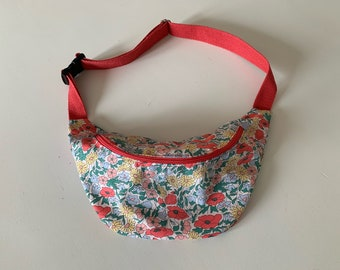 flowers navy transformable bag handbag Hashtag size bag banana bag style
