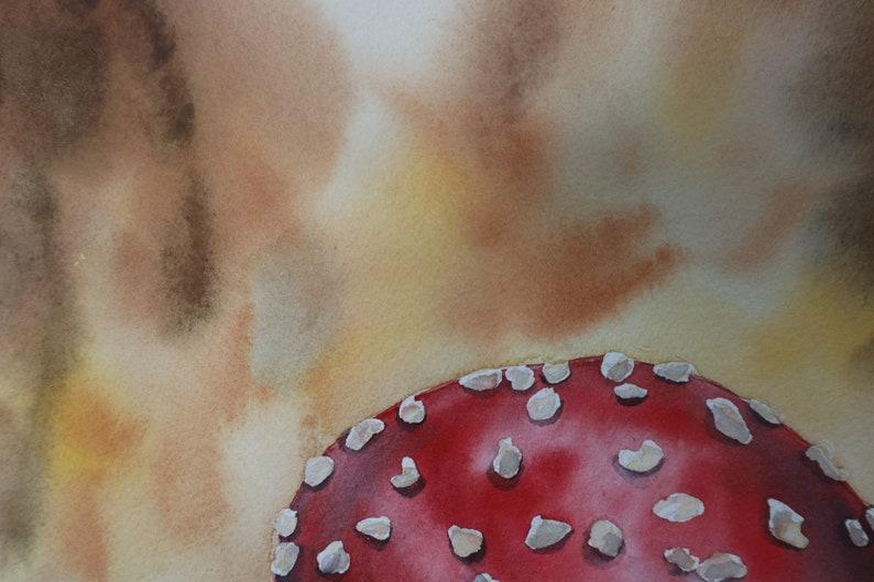 12x12 Original Watercolor Painting Wild Mushroom
