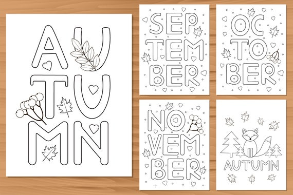 Autumn coloring pages  5 Digital coloring prints  Fall