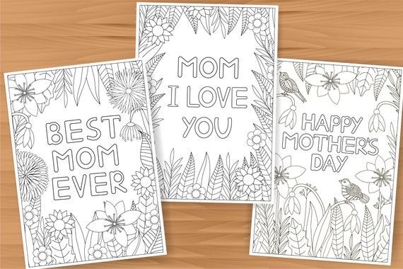 Mother's day coloring cards 3 card templates mothers day