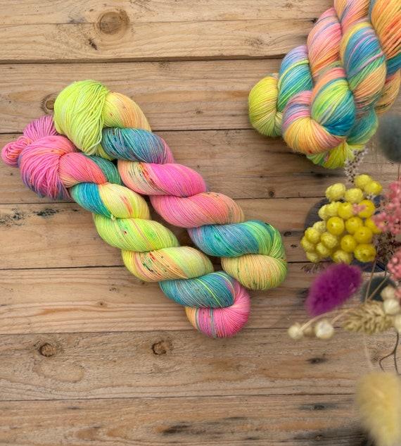 Carnival Hand-Dyed Yarn - Ready to Ship, sock, DK, DK singles, merino, indie yarn, rainbow yarn, speckled