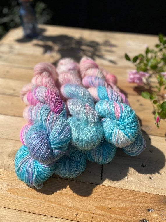 Aqua Peach Hand Dyed Yarn READY TO SHIP - indie yarn, speckled yarn, hand-dyed, turquoise yarn, peach yarn, variegated yarn