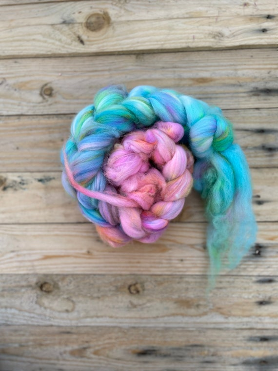 Mermaid Hair Hand Dyed Fibre Braid - 100% Superwash Merino wool tops