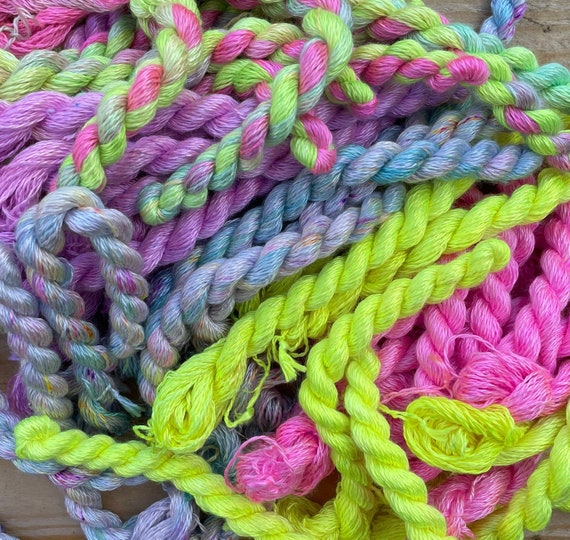 Hand Dyed Embroidery Thread Individual Skeins - 100% Silk, micro crochet/knitting, crewel, visible mending, modern embroidery, cross stitch